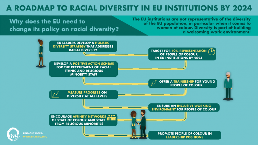 EU Racial Diversity in institutions by 2024 map
